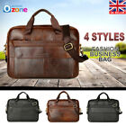 Men Genuine Oil Leather Business Handbag Briefcase Messenger Laptop Shoulder Bag