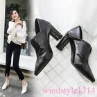 2019 Womens Pumps Pointed Toe Block Heel Brock Shoes Leather Slippers Spring New