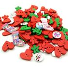 Colorful Flower/Heart-shaped Wooden Button For Clothes Decoration Headwear Xmas