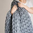 Chunky Knitted Thick Blanket Hand Wool Bulky Knit Throw Sofa Blanket Handmade US image