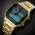 Mens Digital Quartz Wrist Watch Sport Waterproof LED Stainless Steel UK STOCK