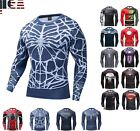 Men Gym T Shirt Compression Top Superhero Avengers Marvel Muscle Spiderman Shirt image