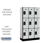 "Wood Lockers - 12"" Wide Triple Tier Designer Commercial - 3 Wide - 6' High"
