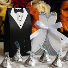 Внешний вид - 50/100/150 Wedding Favor Boxes Groom Bride Dress & Tuxedo Shower Party Style 1