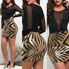 Women Fashion Bodycon Casual Mesh Long Sleeve Evening Party Cocktail Dress