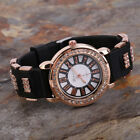 Bling Crystal Golden Women Girl Ladies Quartz Silicone Wrist Watch Strap R2 image