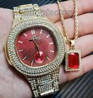 Luxury Hip Hop Iced Out Lab Diamond Red Dial Watch & Red Ruby Necklace Combo Set image