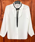 River Island White Frill & Black Tie Button-Up Blouse Shirt Top Sizes 6 to 18