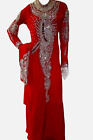 MOROCCAN RED WHIT WORK SCARF KAFTANS ABAYA DRESS VERY FANCY LONG GOWN MS1019