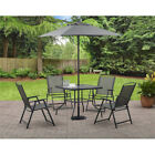 6-Piece Folding Patio Dining Set 4 Chairs 1 Glass Table Outdoor Garden Furniture