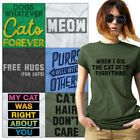 Crazy Kitty Lady Tees Shirt Womens T-Shirt For Ladies Cute Tees Shirts Gift T
