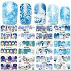Full Wrap Nail Art Water Decals Stickers Christmas ICE BLUE Snowflakes Gift