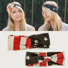 SALE Women PATRIOTIC Vintage USA AMERICAN FLAG KNOT HEAD WRAP Stretch Band Wide