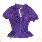 NWT Ruffle Sheer Floral Lace Shirred Waist V Neck Button Up Down Fitted Top M