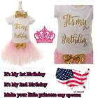 NEW BABY GIRLS PINK & GOLD PRINCESS TUTU SKIRT WITH BOW BIRTHDAY SET 1-2
