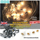20m Extendable Black / White Festoon String Lights Garden Outdoor Party Lighting