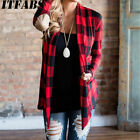 Women's Flannel Plaid Long Sleeve Shirts Casual Loose Cardigan Blouse Jacket Top