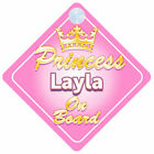 Crown Princess On Board Personalised Baby Girl Car Sign Child Gift (L Names)