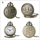 Vintage Retro Silver DAD Father Men Analog Quartz Pocket Watch Necklace Chain