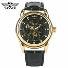 Winner Mens Steampunk Skeleton Leather Band Automatic Mechanical Wrist Watch image
