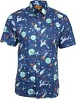 Run & Fly Mens Navy Space Print Short Sleeved Shirt Retro Kitsch Indie 50s 60s