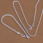 925 Silver 4Mm Twisted Rope Chain 16-24 inch Neckalce