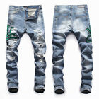 New Italy Pop Style Men Blue Pants Snake Embroidery Ripped Slim Jeans AM8049T