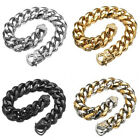 """7""""-11"""" High Polished Mens Stainless Steel Curb Cuban Chain Bangle Bracelet Gift"""