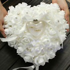 Внешний вид - Wedding Ceremony Ivory Satin Crystal Ring Bearer Pillow Cushion Ring Pillow