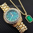 HIP HOP ICED OUT LAB DIAMOND MOTHER OF PEARL DIAL WATCH & GREEN RUBY NECKLACE image