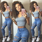 Women Skinny Ripped Holes Jeans Pants High Waist Stretch Slim Pencil Trousers