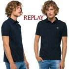 T-shirt polo uomo REPLAY in piquet di cotone manica corta blu con colletto M3791