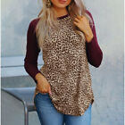 Women Leopard Print Long Sleeve Loose Casual Pullover Blouse Top T-Shirt L-5XL