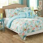 Reversible Comforter Set 5Pc Beach Day Coral Shells Starfish Tropical Blue Green image