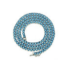Solitaire 4MM Tennis Chain Necklace Silver Finish Blue Lab Diamonds 18-24'' $26.95 USD on eBay