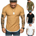 US Mens Slim Fit O Neck Short Sleeve Muscle Tee shirt Casual Tops Shirts New