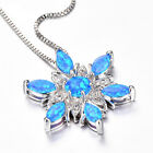 Girl Elegant Muti-color Fire Opal Flower Floral Pendant Necklace Jewelry Gift Ki
