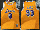 New Men's Los Angeles Lakers #93 Snoop Dogg Basketball jersey joint BAPE yellow on Ebay