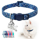 Cat Breakaway Collar with Name Tag Personalized Anti-lost  Quick Release Buckle