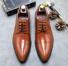 Mens Lace Up Wedding Dress Formal Shoes Work Pointy Toe Oxfords Leather Shoes