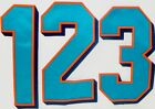 "MIAMI DOLPHINS TEAM ISSUED AQUA & ORANGE 4 1/4"" FOOTBALL JERSEY NUMBERS 0-9 $3.00 USD on eBay"