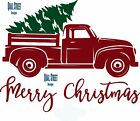 Merry Christmas With Vintage Red Truck & Tree- Vinyl Decal Free Shipping 159