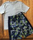 Gymboree Size 7 8 10 12 Outfit Gray Tee & Navy Lime Camo Basketball Shorts Boys
