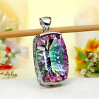 925 Silver Mystic Rainbow Topaz Pendant Chain Chocker Necklace Bridal Jewelry