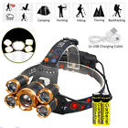 150000Lumens 5-LED Zoomable USB 18650 Rechargeable LED Headlamp Head Light Torch