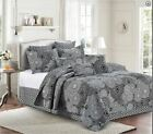 Classic Country Black and White Circle Design Printed QUEEN Quilt Set Farmhouse image