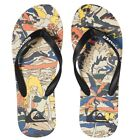 Quiksilver NEW Men's Molokai Feelin Fine Flip Flops Black / Black / Yellow BNWT