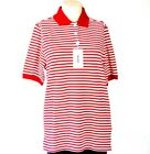 Ashworth Red & White Stripe Short Sleeve Polo Shirt Women's NWT