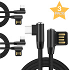 3-PACK Micro USB Cable Nylon Braided Fast Charger for Samsung Galaxy S7 S6 HTC