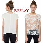 T-shirt donna REPLAY maglietta bluse in pizzo e ricamo floreale sexy girl W3997A